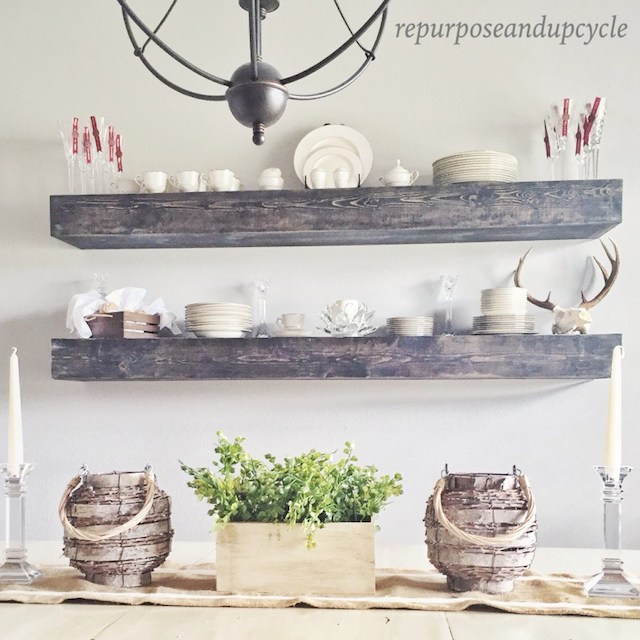 DIY Floating Shelves from Repurpose and Upcycle