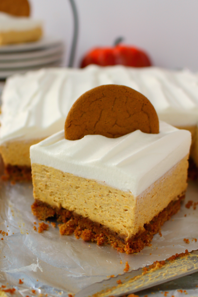 No Bake Pumpkin Cheesecake Bars from  Delightful E Made