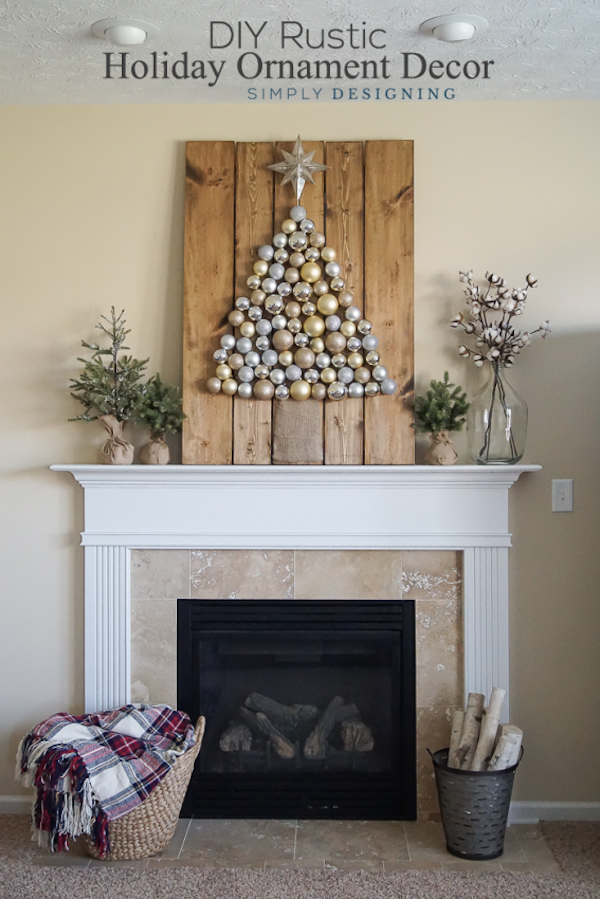 DIY Rustic Holiday Ornament Decor from Simply Designing