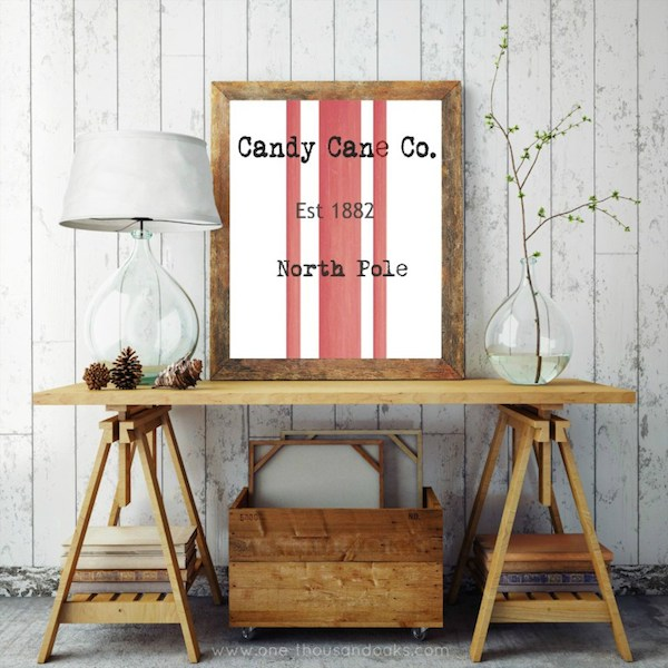 Candy Cane Printable from One Thousand Oaks