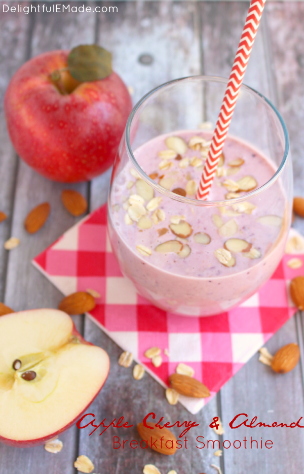 Apple Cherry & Almond Breakfast Smoothie from  Delightful E Made
