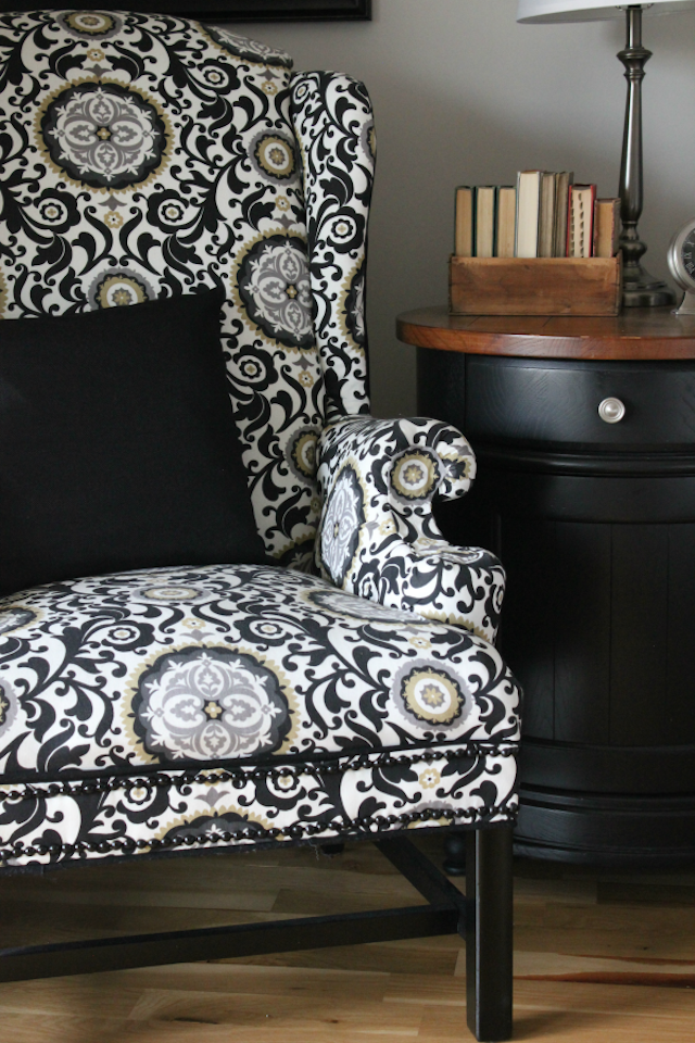 No-Sew Reupholstered Wingback Chair from  Six Seeds