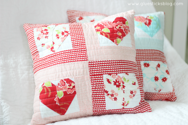 Quilted Sweetheart Pillow from Gluesticks Blog