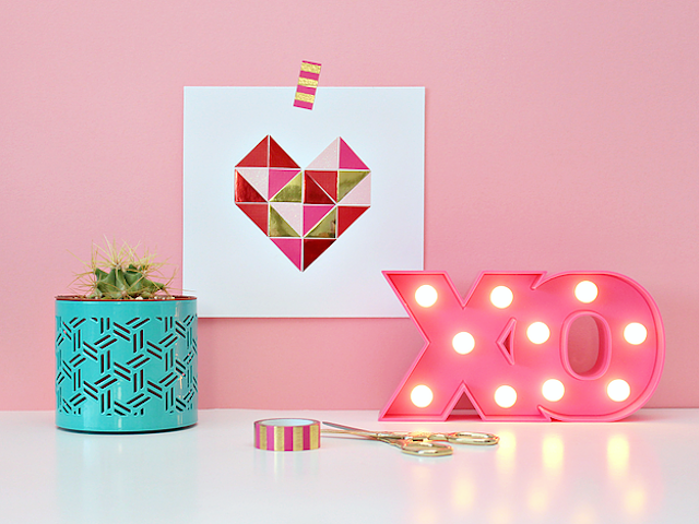 Paper Geometric Heart Art from White House Crafts