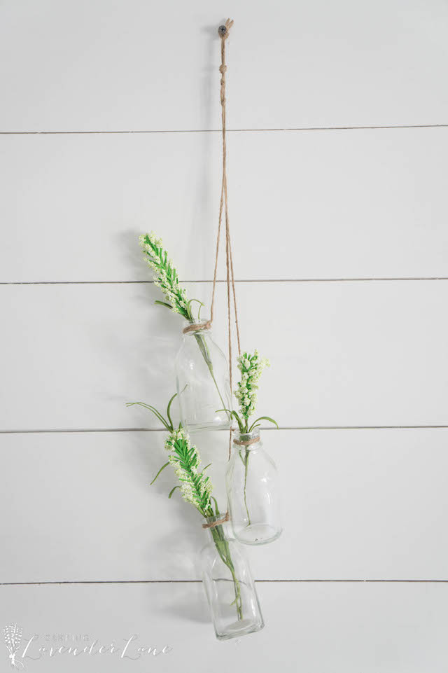 Hanging Glass Bottles from Seeking Lavender Lane