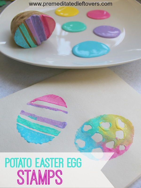 Handmade Potato Easter Egg Stamps fro Kids from  Premeditated Leftovers