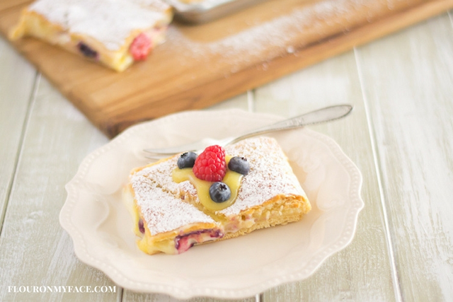 Cheesecake Lemon Curd Berry Crescent Bars from  Flour On My Face
