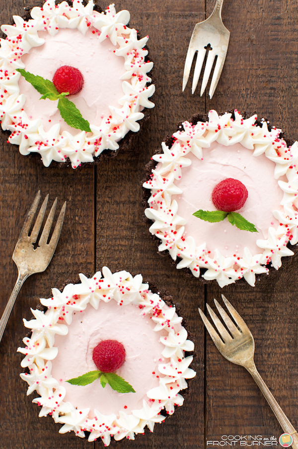 Raspberry Mousse Tarts from  Cooking on the Front Burner