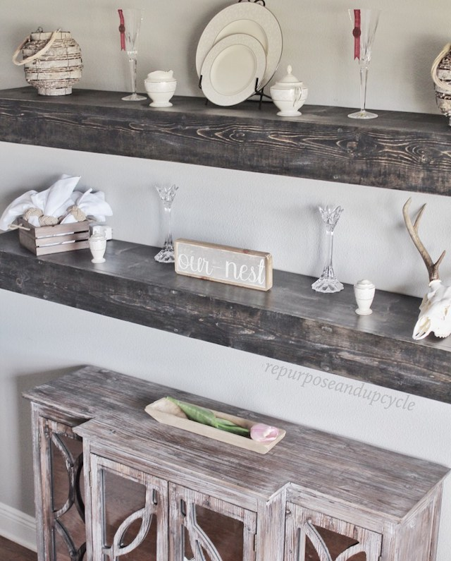 DIY Floating Dining Room Shelves from  Repurpose and Upcycle