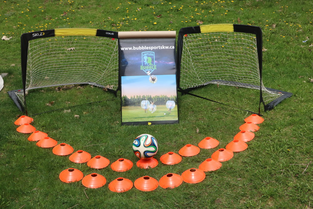 Portable Field - Complete with cones, nets and a soccer ball so you can play bubble soccer the right way.