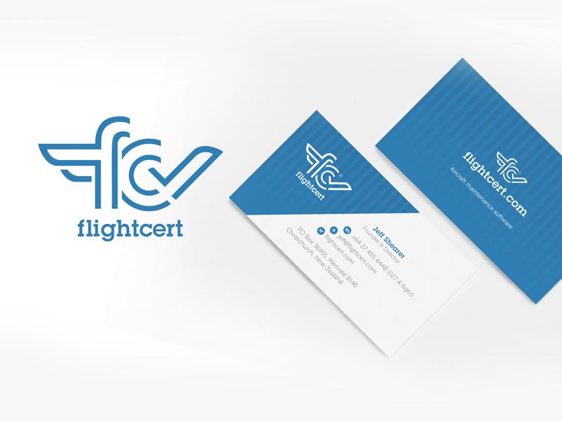 Flightcert logo and branding design