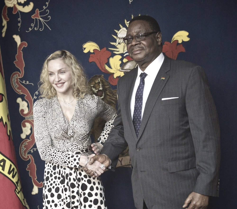 Madonna and President of Malawi, Peter Mutharika. November 2014.