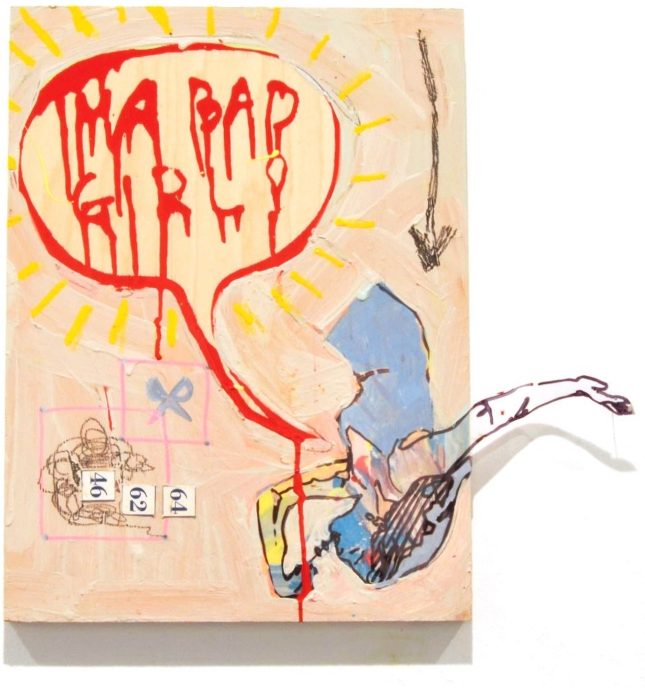 Bad Gurl  1ft x 1.4ft  house paint, pigmnt marker, pencil and collage on wood  2015