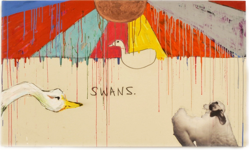 Swans  3ft x 5ft  Acrylic, house paint, charcoal, pigment marker and collage on  canvas  2015