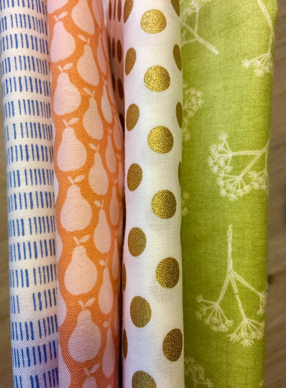 Assorted fabric in Orange, Green, Blue, Gold