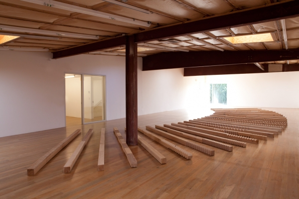Susumu Koshimizu, From Surface to Surface (Wooden Logs Placed in Radial Pattern on the Ground), 1972/2004, installation view