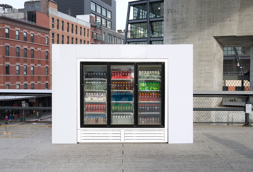 Josh Kline, Skittles, 2014, installation view