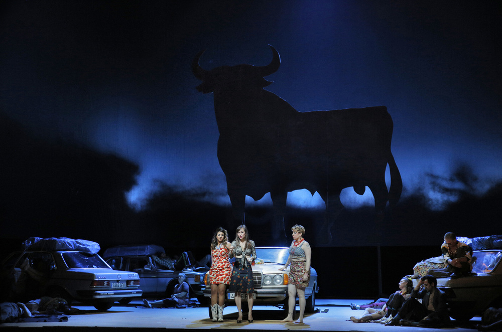 Amina Edris, Irene Roberts, and Renée Rapier in San Francisco Opera's Carmen.