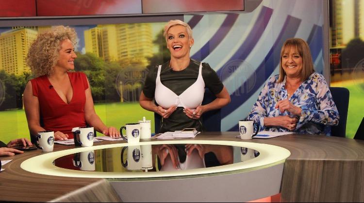 Ash wondering why I'm wearing Denise's bra!!