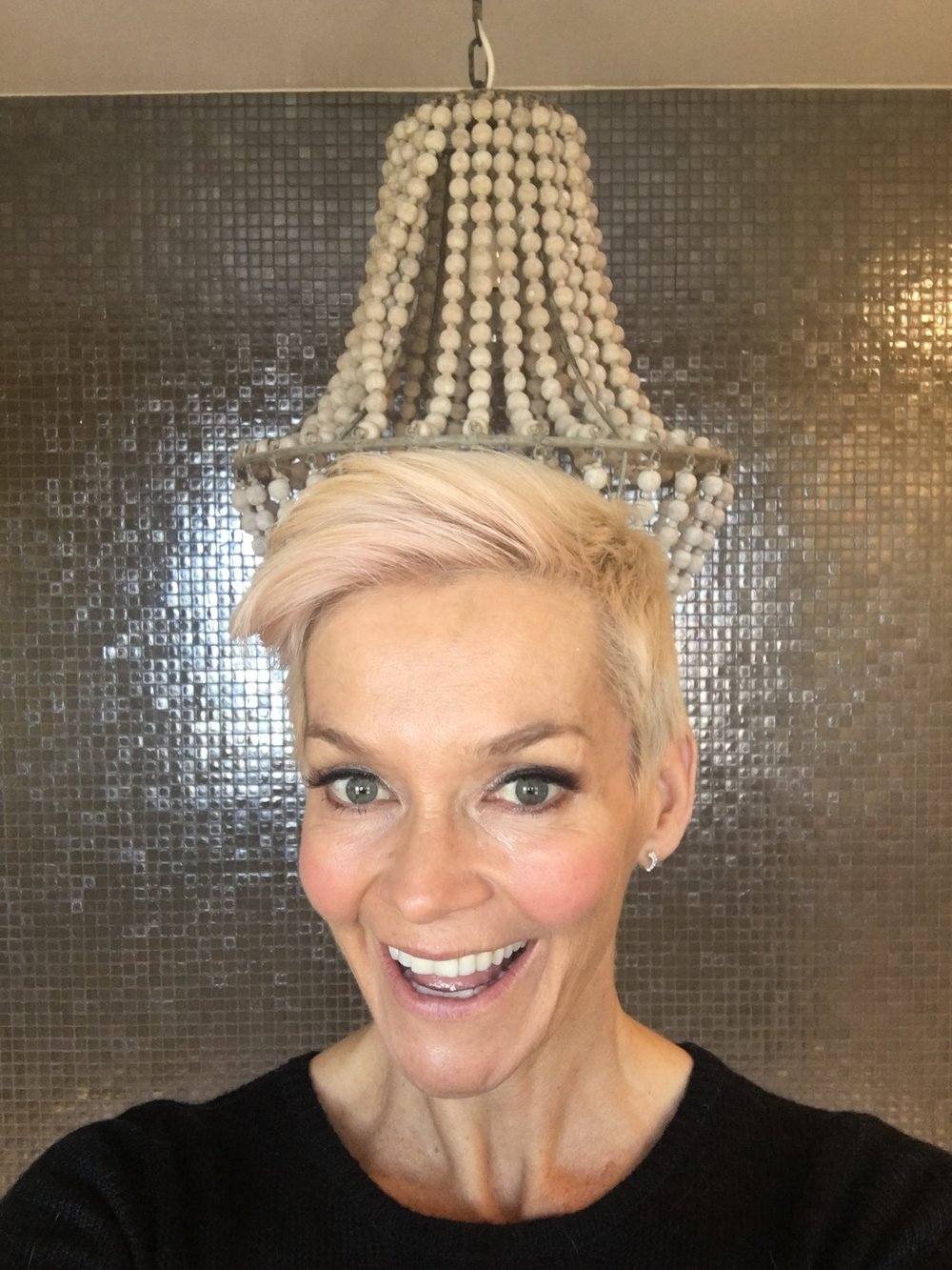 Fresh- a week after Botox! (do you like the chandelier growing out of my head??)
