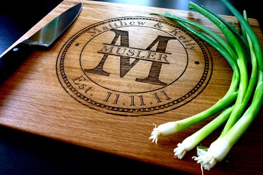 White Oak Cutting Board with Monogram Buy Here
