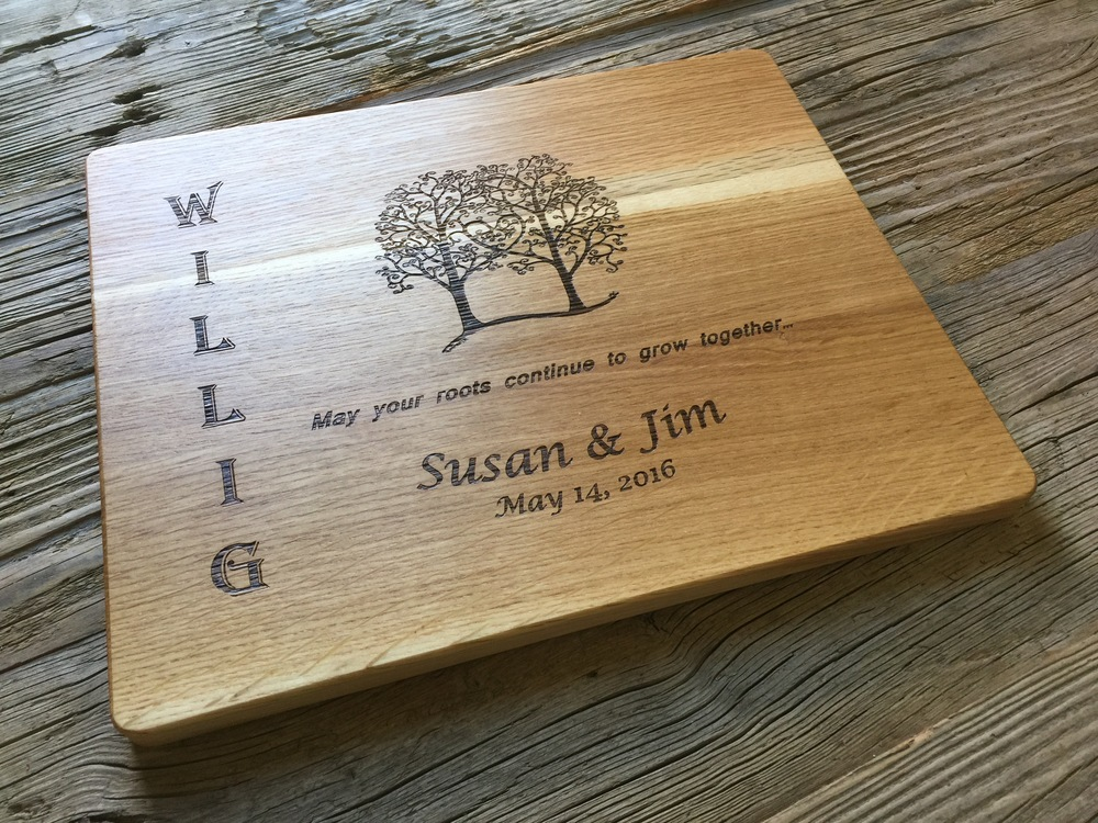 White Oak cutting board with a customer designed image