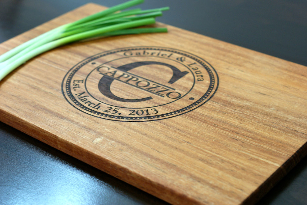 Mahogany cutting board with our Stamp monogram design