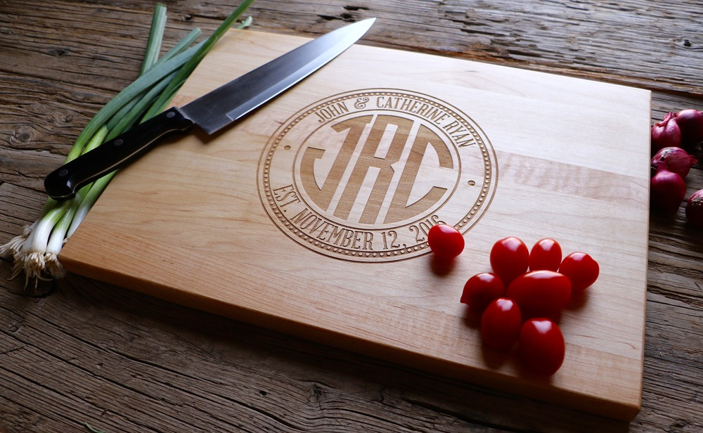 Maple Cutting Board with a monogram center stamp design