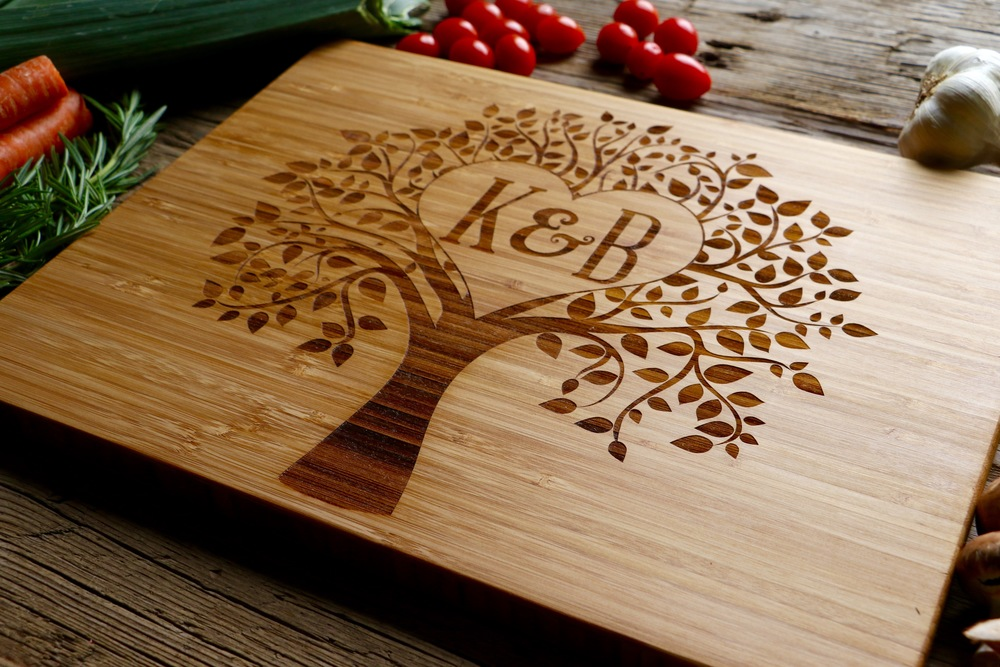Bamboo cutting board with the Heart in Tree Design