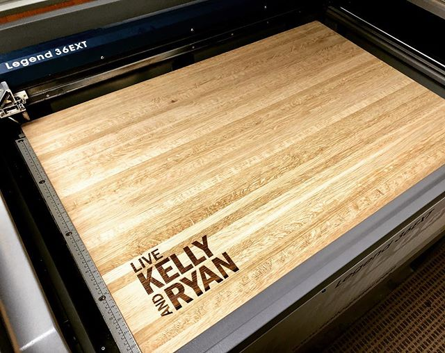 Monday Project: Two extra large edge grain white oak butcher blocks for the Live Kelly and Ryan show!  Beautiful pieces!  #livekellyandryan #tvcooking #kellyandryan #tvchef #personalized #personalizeyourkitchen #butcherblock @taylorcrafts_engraved