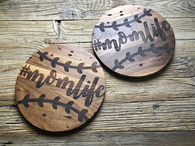 Creative idea of the day:  We engraved these two round cutting boards into baseballs.  Creative and fun!  #momlife #cuttingboard #uniqueidea #createsomethingunique @taylorcrafts_engraved