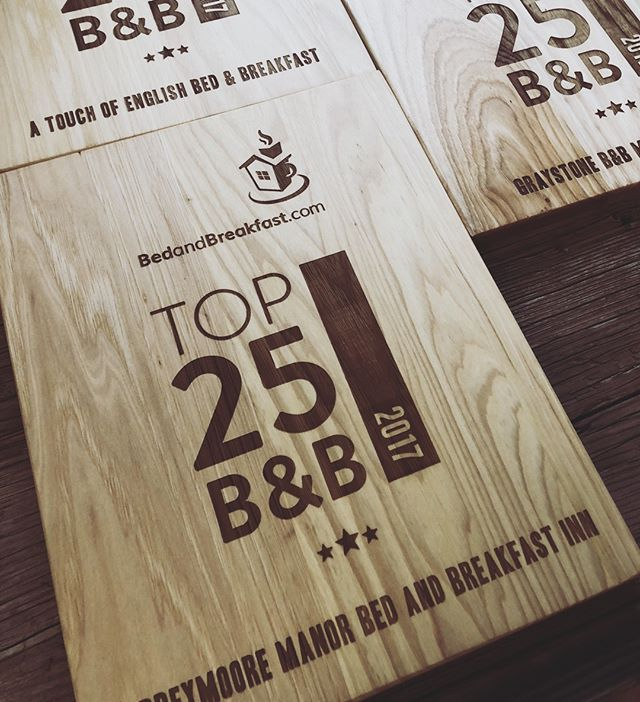 Did we mention we do lots of awards on our cutting boards?  #bedandbreakfast #awardboard #awardideas #bnb #engravedcuttingboards @taylorcrafts_engraved