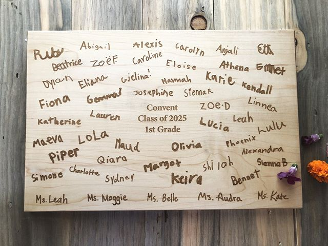 Schools out, but check out these teacher signature boards!  Each child's name is converted from their own handwriting and engraved into one of our 12x18 maple boards.  A sure way to thank the teachers at your school!  #teachergift #personalized #signatures #lovethis #childwriting #personalizedcuttingboard