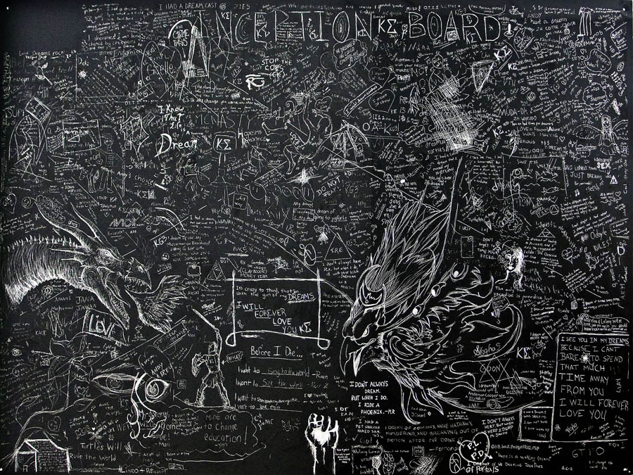 Dreams (Tamiami Trail), Anonymous group drawing made at FIU's South Campus, Incised aluminum with a baked enamel finish, 48 X 60 inches, 2012