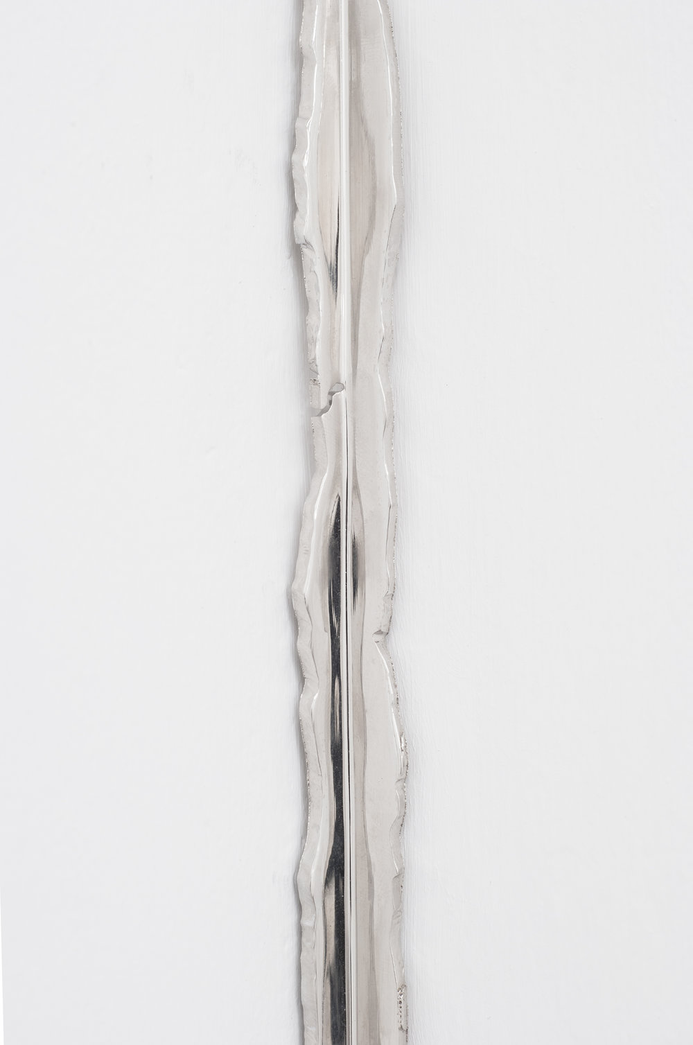 Corner (Detail), Nickel plated mirror polished steel, 110 X 3 inches, 2013