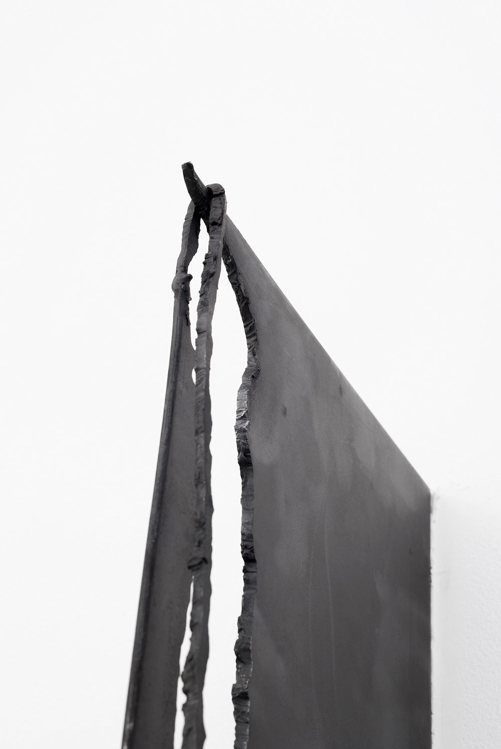 Cascade (Detail), Enamel and steel with graphite and nickel plating, 70 X 10 inches, 2013