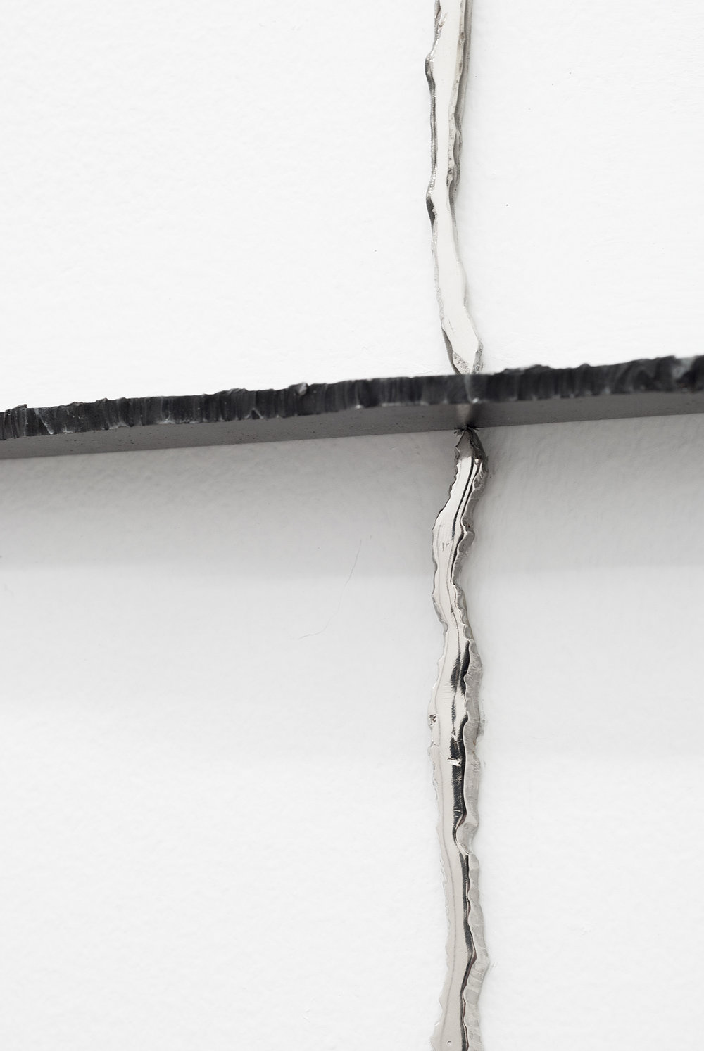 Never too late to mend (Detail), Nickel plated, mirror polished steel, graphite, wall marking,  76 X 60 inches, 2013