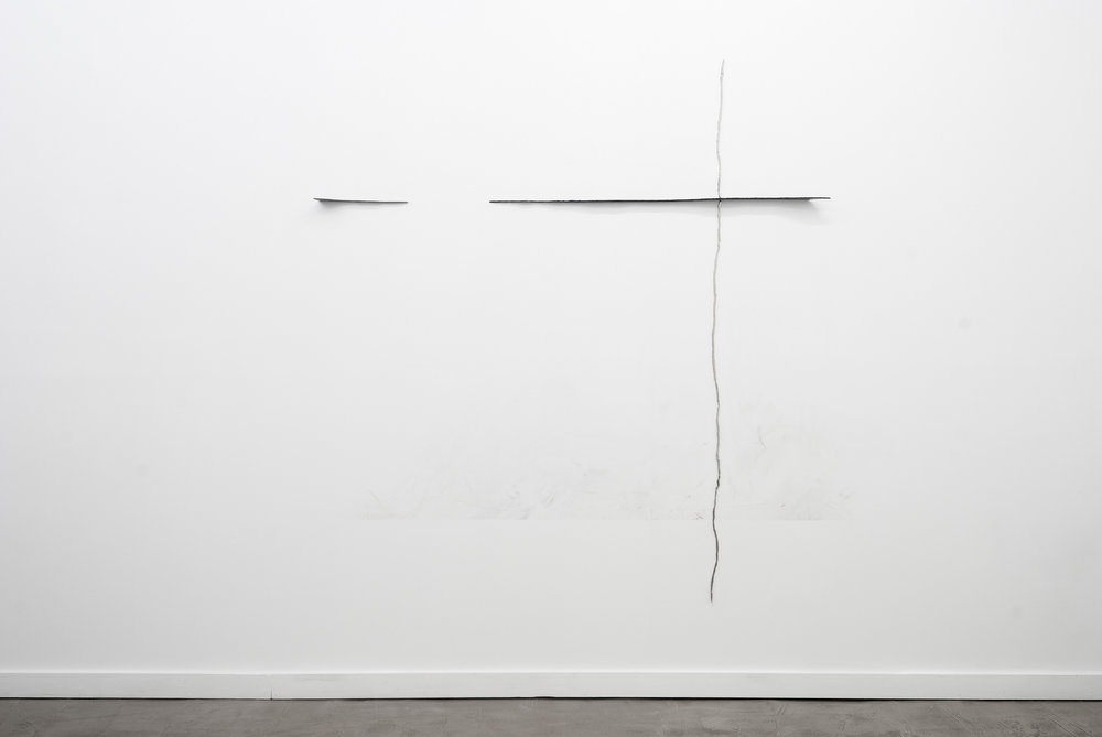 Never too late to mend, Nickel plated, mirror polished steel, graphite, wall marking,  76 X 60 inches, 2013