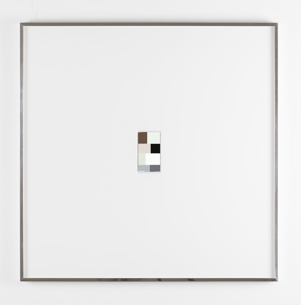 Renaciemento, Urethane on polished steel mounted in beveled mat board with polished steel frame, 36 X 36 inches, 2015