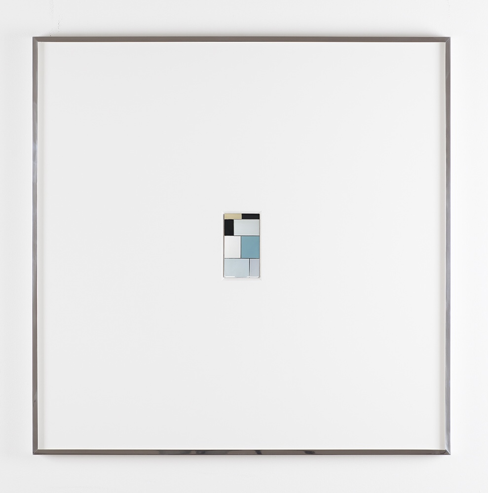Faith, Urethane on polished steel, mounted in beveled mat board with polished steel frame, 36 X 36 inches, 2015
