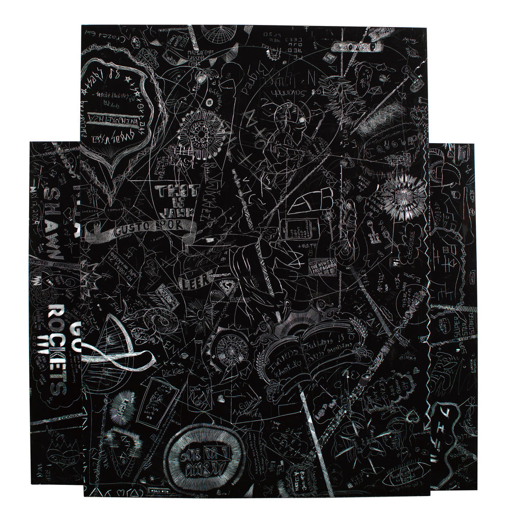 Codex, Liberty City/Little Havana, Miami, FL. Collaborative drawing with students from the Miami metro area. Incised aluminum with baked enamel finish, 2 parts, 60 X 48 inches, 2009-10