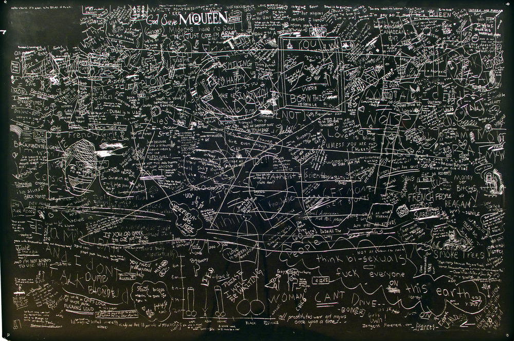 Stereotypes, P.S. drawing, Incised aluminum with baked enamel finish with artist frame, crowd sourced drawings from Florida International University, 48 X 60 inches, 2012