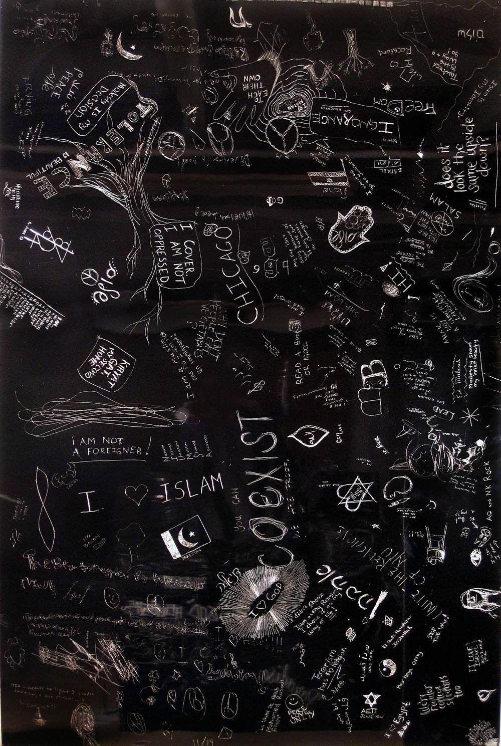 Faith, Crowd sourced collaborative drawing at NIU School of Art and Design, Incised aluminum with baked enamel finish, 60 X 48 inches, 2010