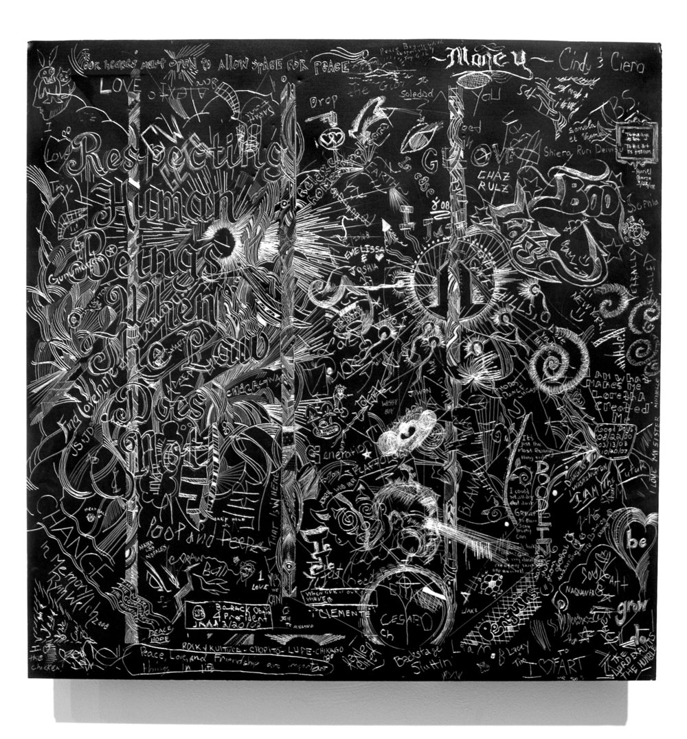 MCA 1, Collaborative incised drawings on aluminum with baked enamel finish made w/ the Museum of Contemporary Art Chicago's visitors and staff, 24 X 24 inches, 2008
