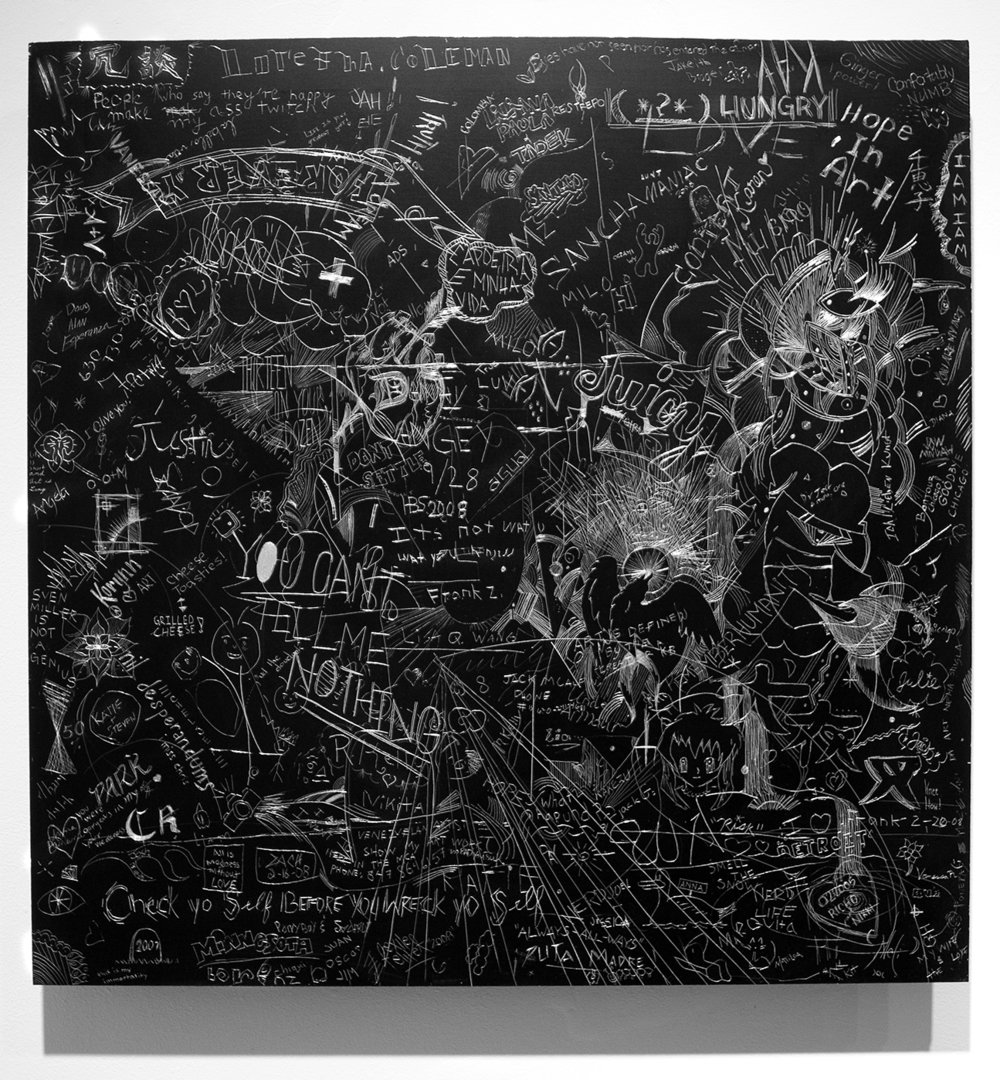 MCA 2, Collaborative incised drawings on aluminum with baked enamel finish made w/ the Museum of Contemporary Art Chicago's visitors and staff, 24 X 24 inches, 2008