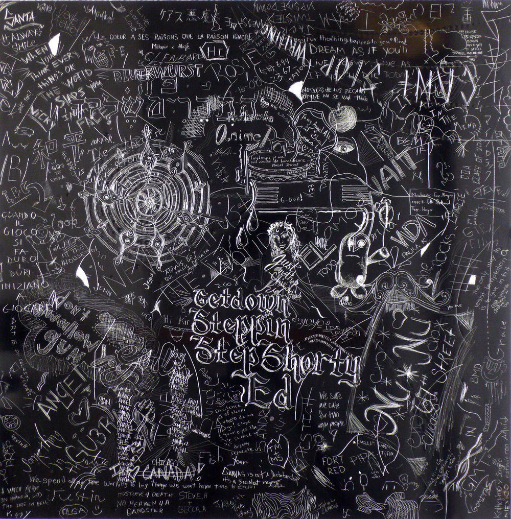 MCA 3, Collaborative incised drawings on aluminum with baked enamel finish made w/ the Museum of Contemporary Art Chicago's visitors and staff, 24 X 24 inches, 2008