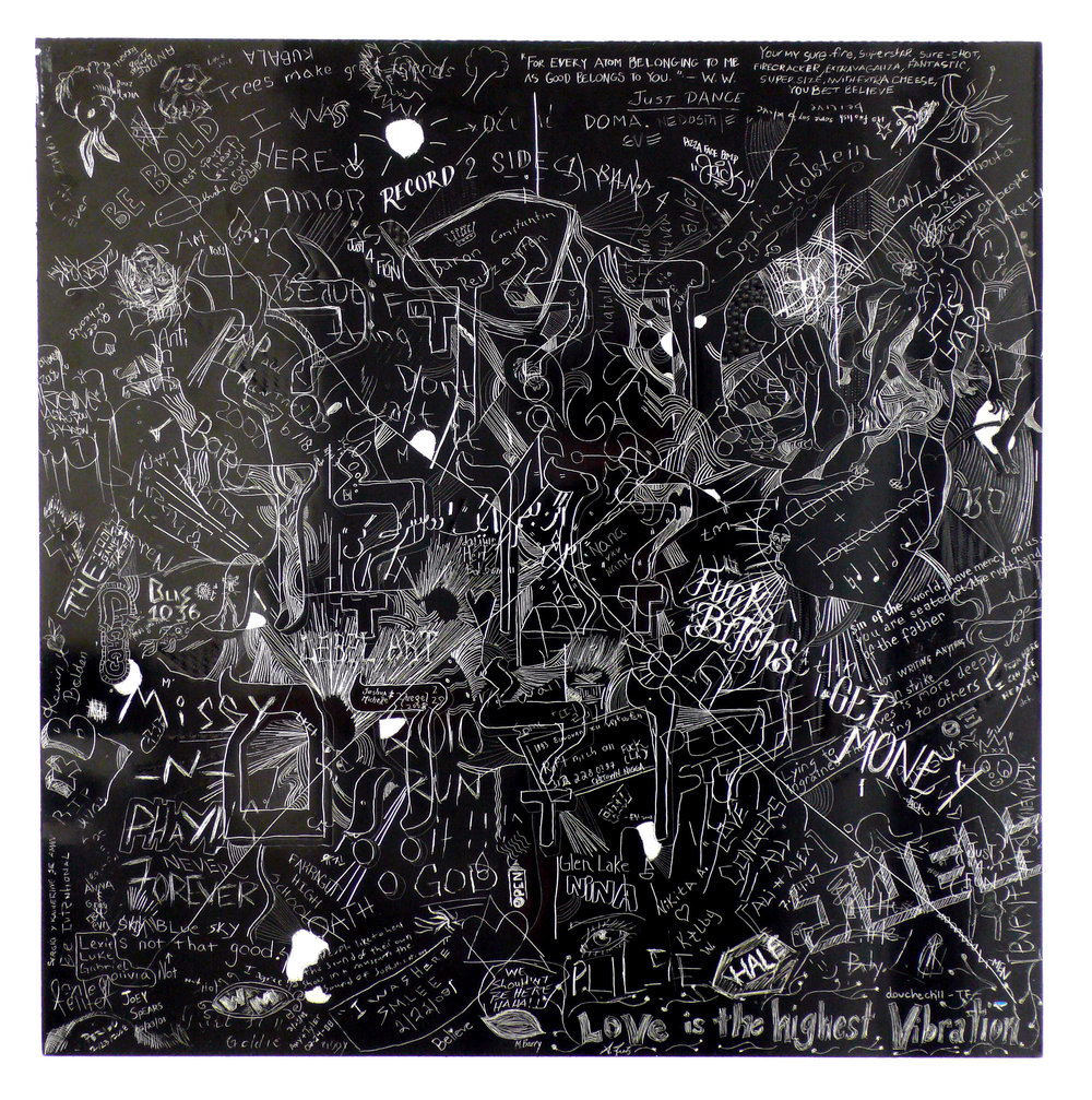 MCA 4, Collaborative incised drawings on aluminum with baked enamel finish made w/ the Museum of Contemporary Art Chicago's visitors and staff, 24 X 24 inches, 2008