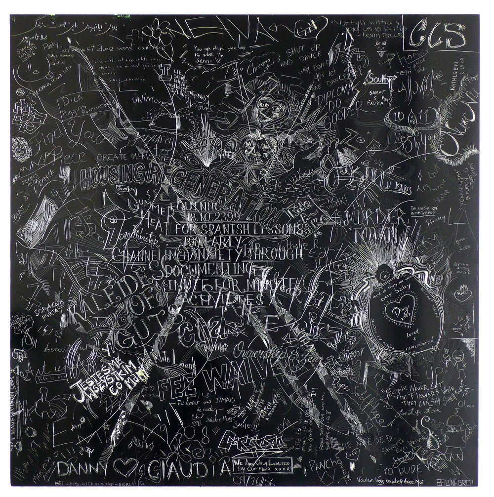 MCA5 , Collaborative incised drawings on aluminum with baked enamel finish made w/ the Museum of Contemporary Art Chicago's visitors and staff, 24 X 24 inches, 2008