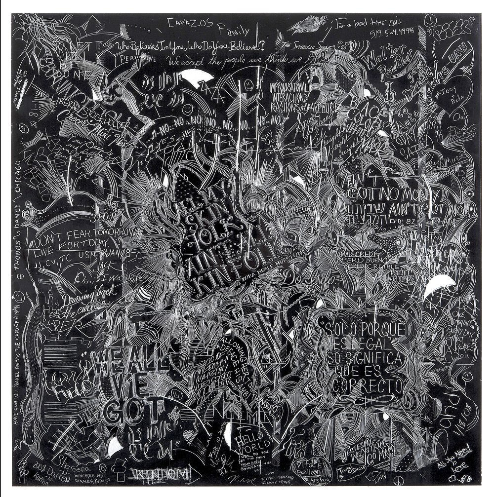 MCA 6, Collaborative incised drawings on aluminum with baked enamel finish made w/ the Museum of Contemporary Art Chicago's visitors and staff, 24 X 24 inches, 2008