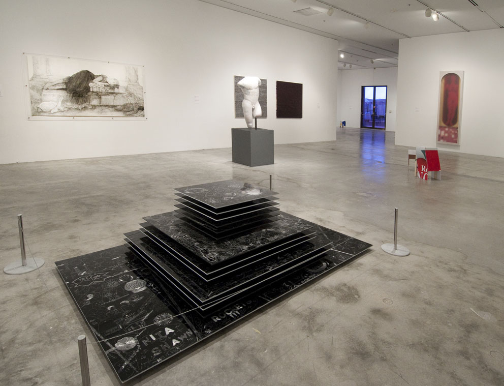 Collaborative incised drawings on aluminum with baked enamel finish, Installation view, Miami Art Museum, 2010